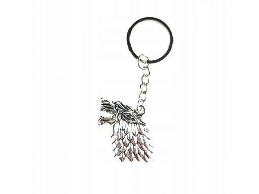 Piękny brelok metalowy wilk stark gra o tron
