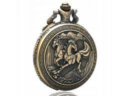 Piękny zegarek kieszonkowy koń styl grecki konie