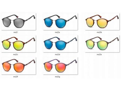 Okrągłe okulary lenonki lustrzane przeciwsłoneczne