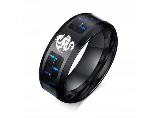 Czarna obrączka sygnet pierścień smok 316l