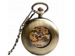 Mechaniczny zegarek kieszonkowy brąz szkielet
