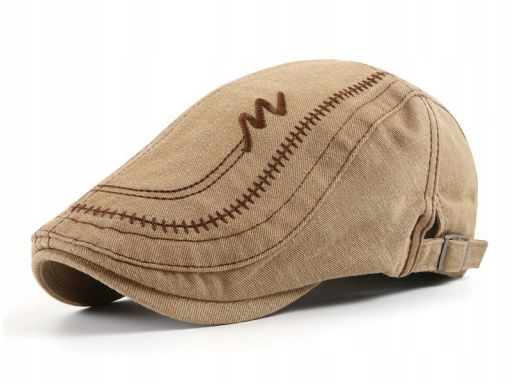 Czapka z daszkiem kaszkiet jeans beżowy bawełna #4