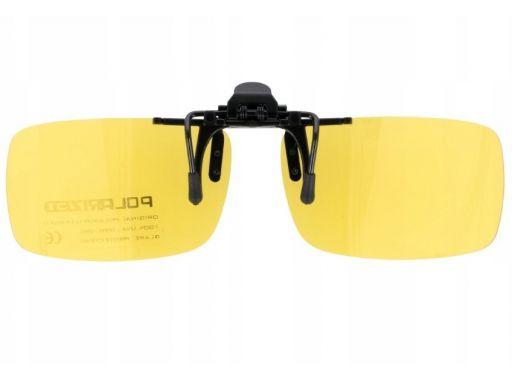 Żółte nakładki polaryzacyjne na okulary korekcyjne