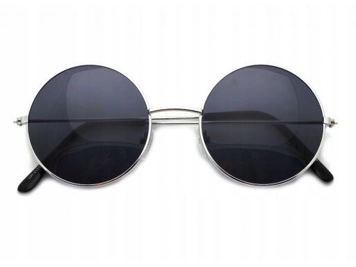 Okulary lenonki czarne przeciwsłoneczne hippie