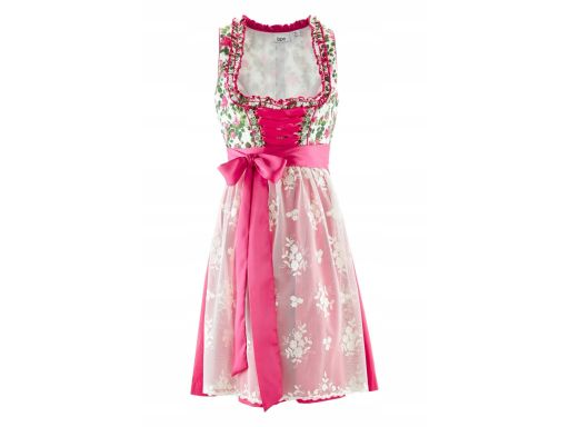 *b.p.c. sukienka ludowa z koronkowym fartuchem 42