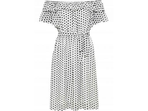 *b.p.c sukienka biała w czarne groszki carmen 36.