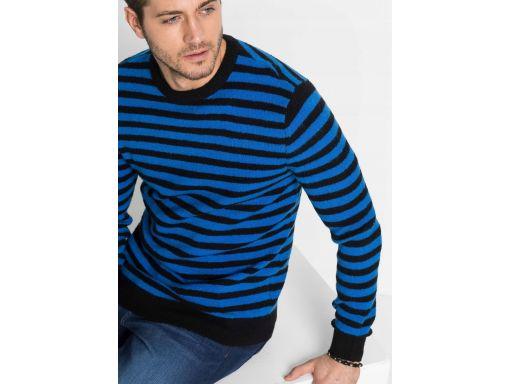 *b.p.c sweter męski w paski niebiesko-czarne xl.