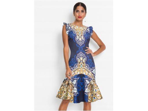 *b.p.c sukienka z nadrukiem i falbanami r.48/50