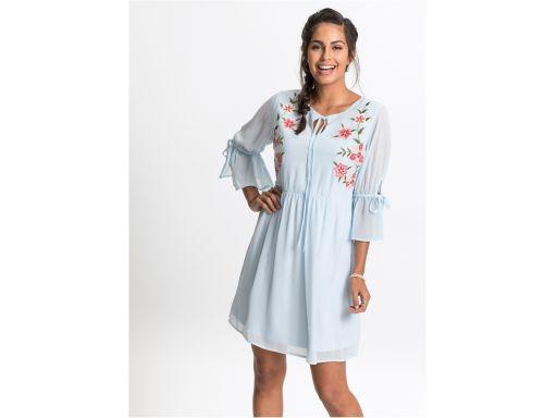 B.p.c romantyczna sukienka z haftem niebieska 48