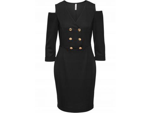B.p.c. czarna sukienka z wycięciami guziki 36/38