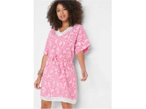 *b.p.c różowa sukienka z koronką i nadrukiem r.44