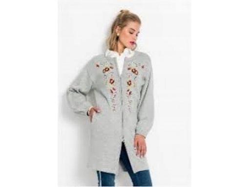 *b.p.c dłuższy szary sweter z haftem 36/38.