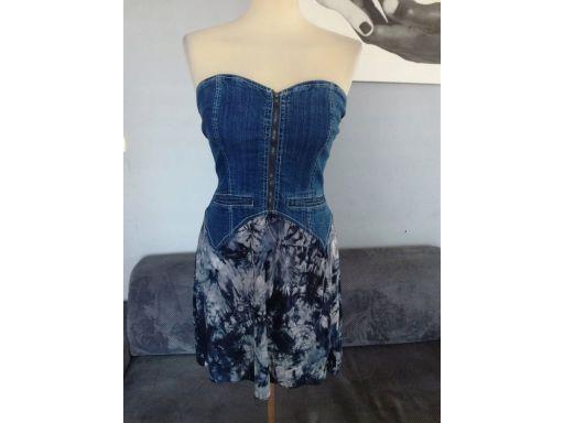 Hma r.8/36 s sukienka nowa mini jeansowa zamek hit
