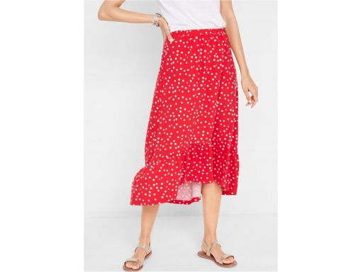 *b.p.c długa czerwona spódnica w groszki r.48/50