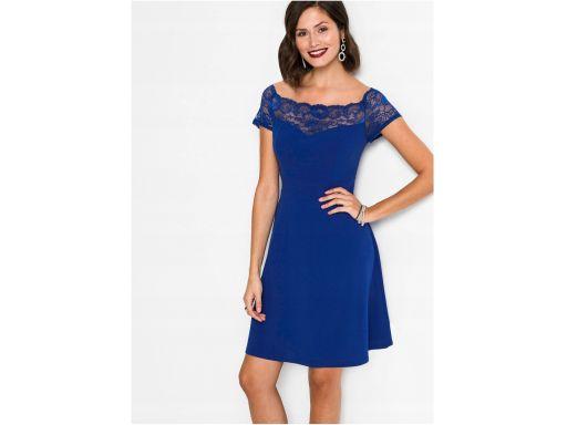 *b.p.c szafirowa sukienka z koronką 52/54.