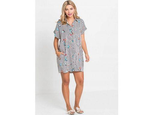 *b.p.c sukienka koszulowa w paski i kwiaty r.42