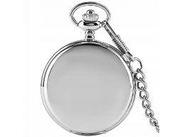 Piękny zegarek kieszonkowy srebrny gładki 24h pl