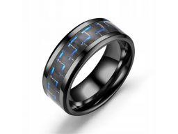 Tytanowa czarna obrączka niebieska męska pierścień