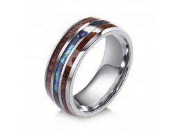Obrączka sygnet pierścień drewno kryształ 316l