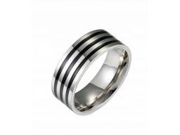 Srebrna czarna obrączka sygnet pierścień stal 316l