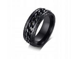 Czarna obrączka sygnet pierścień opona koło