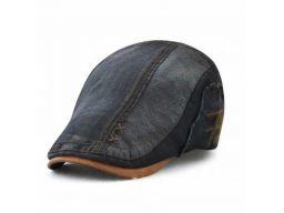 Czapka z daszkiem kaszkiet jeans czarny bawełna