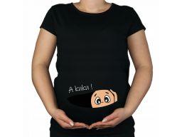 Bluzka koszulka ciążowa nocna do porodu z nadruk