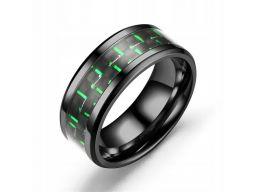 Tytanowa czarna obrączka zielona męska pierścień