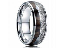 Obrączka sygnet pierścień drewno strzała 316l