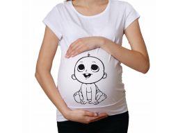 Koszulka bluza damska ciążowa z nadrukiem wzory xs