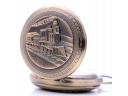 Mechaniczny zegarek kieszonkowy lokomotywa pociąg