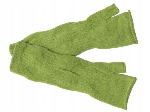 Zielone rękawiczki mitenki długie polskie gładkie