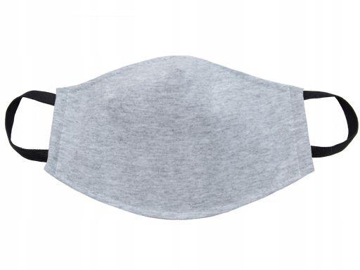 Szara maska damska młodzież bawełna 3 warstwy