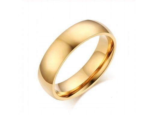 Złota gładka obrączka sygnet pierścień stal 316l
