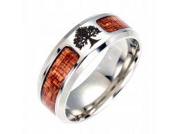 Obrączka sygnet pierścień drzewo życia drewno 316l